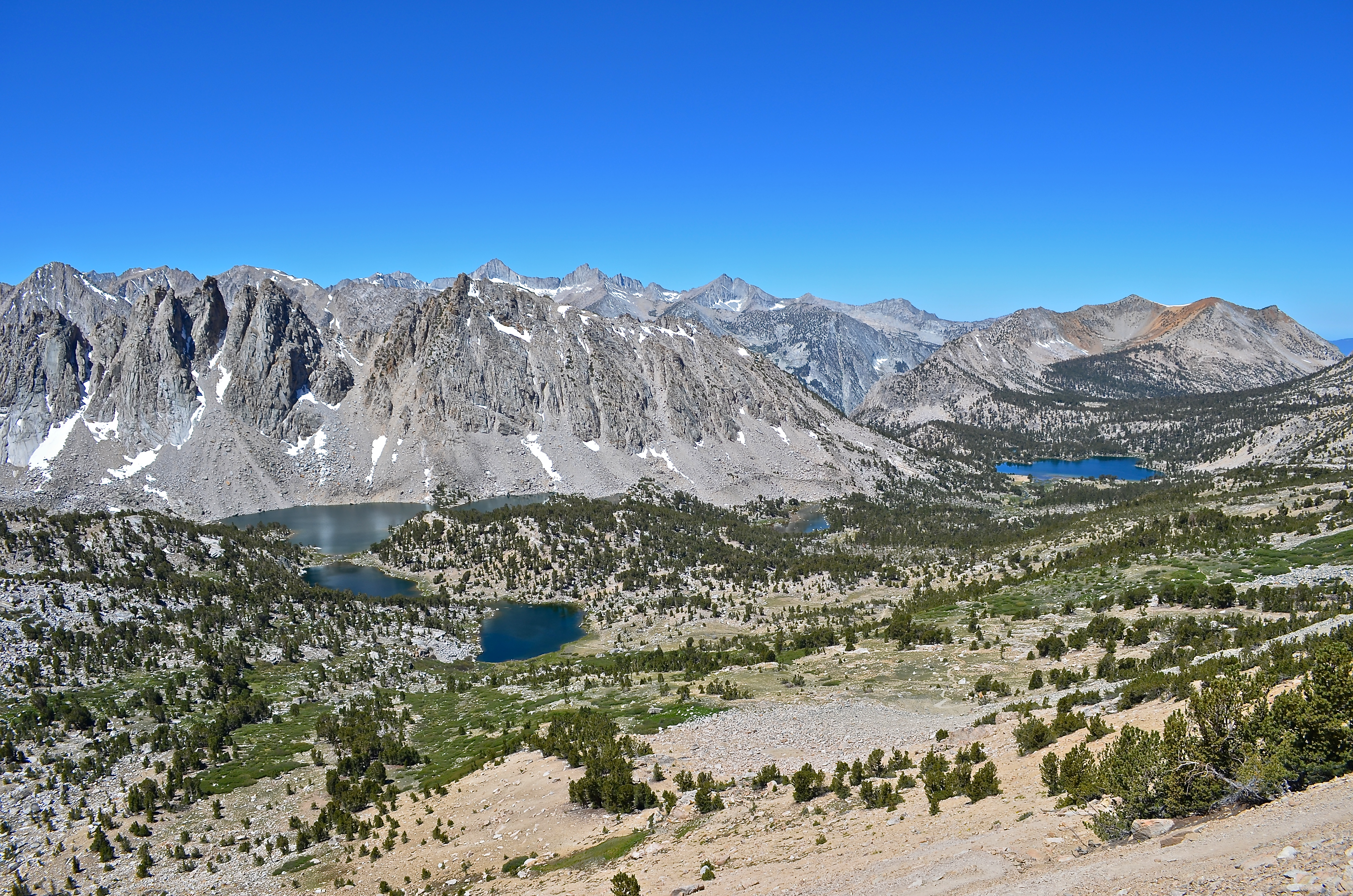 Kearsarge Pass lookout onto the lakes